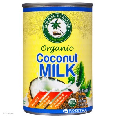 Молоко кокосовое Sun Rich 400мл.